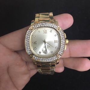Stainless Steel Gold Plated CZ diamond watch Women